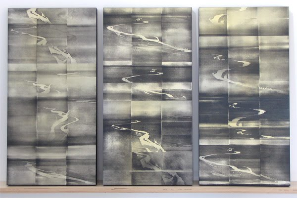 """Big Springs Panels"" © 2008 Relief-roll woodcut prints on three panels, 24 x12 in. each"