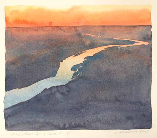 """Kaw - Near Spring Creek II"" © 2010  6 x 7 in., watercolor"