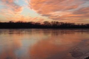 Late Winter on the Kaw - Photo was taken at the Edwardsville Boat Ramp. This scene was captured in late March. While I was there, the sky quickly changed into these beautiful orange colors and it was changing very fast.