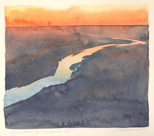 """""""Kaw - Near Spring Creek II"""" © 2010  6 x 7 in., watercolor"""